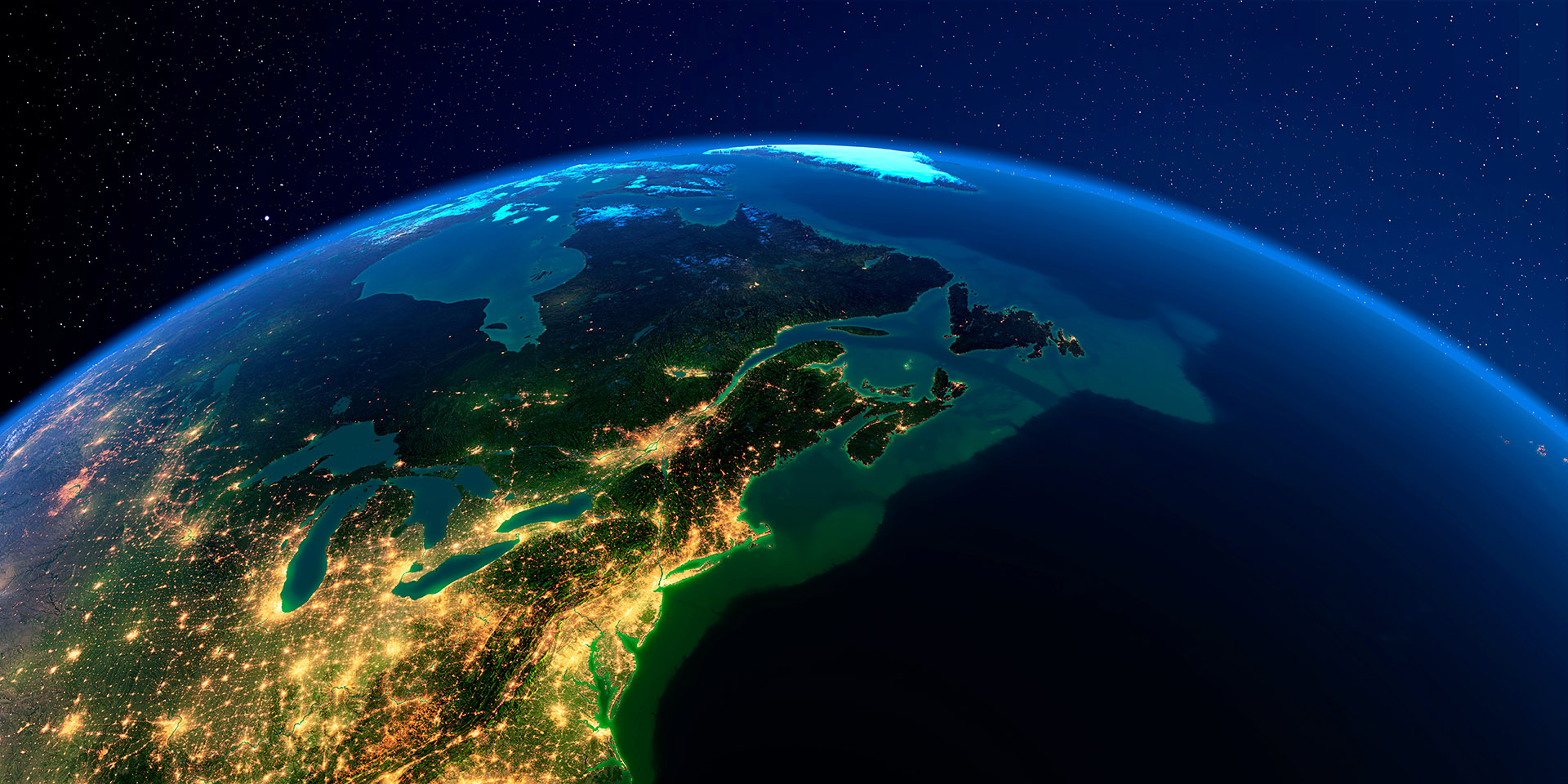 Connecticut coastline from space at night