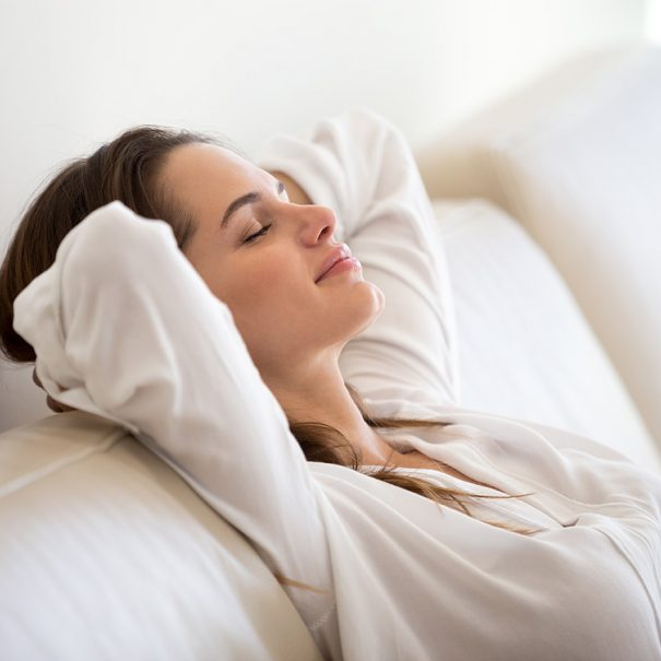 Woman resting - breathing clean air