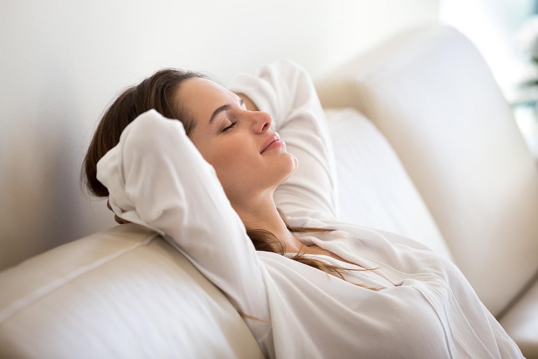 Woman resting - breathing clean air
